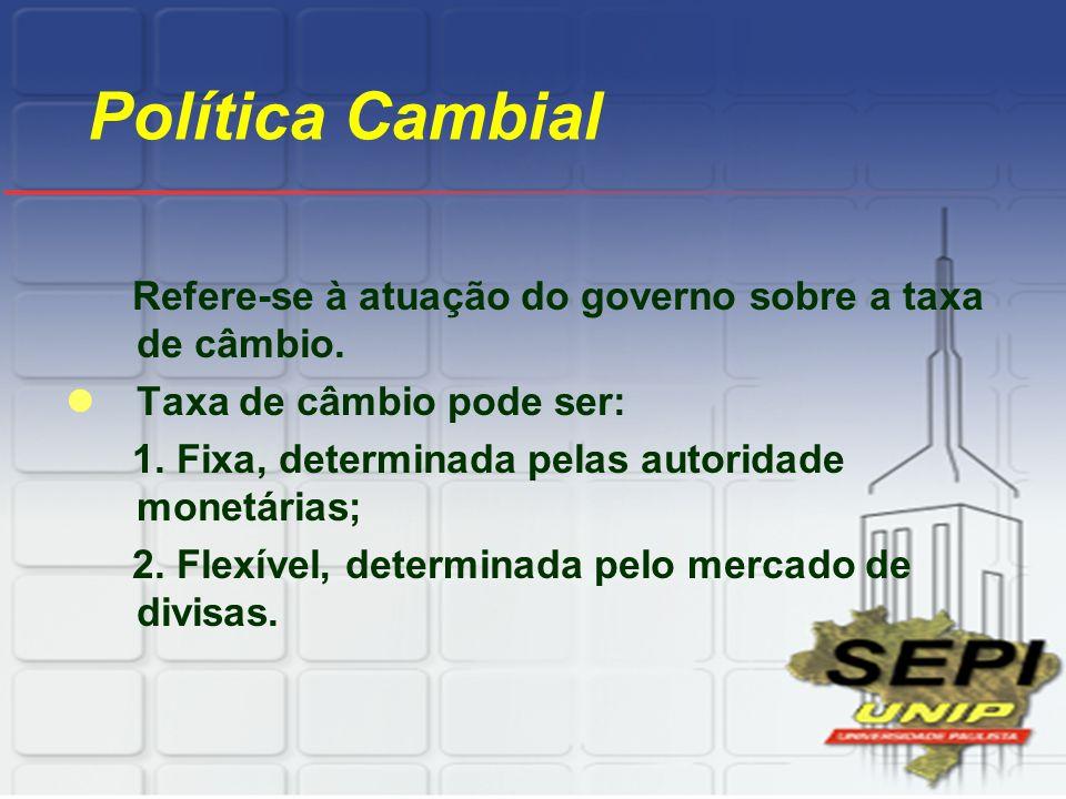 Política Cambial Refere-se à atuação do governo sobre a taxa de câmbio. Taxa de câmbio pode ser: 1. Fixa, determinada pelas autoridade monetárias; 2.