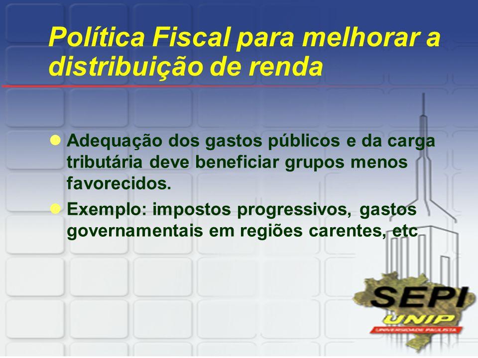Política Fiscal para melhorar a distribuição de renda Adequação dos gastos públicos e da carga tributária deve beneficiar grupos menos favorecidos. Ex