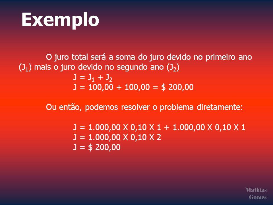 O juro total será a soma do juro devido no primeiro ano (J 1 ) mais o juro devido no segundo ano (J 2 ) J = J 1 + J 2 J = 100,00 + 100,00 = $ 200,00 O