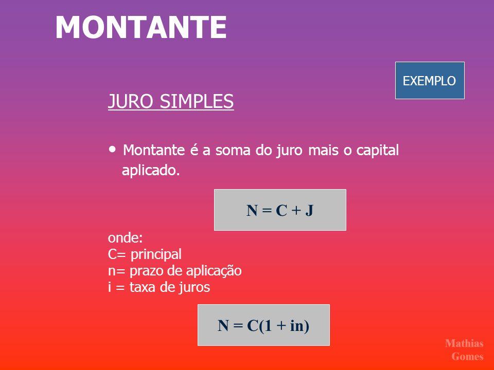 MONTANTE JURO SIMPLES Montante é a soma do juro mais o capital aplicado. N = C + J onde: C= principal n= prazo de aplicação i = taxa de juros N = C(1