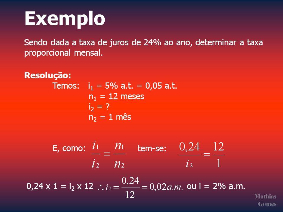 Exemplo Sendo dada a taxa de juros de 24% ao ano, determinar a taxa proporcional mensal. Resolução: Temos: i 1 = 5% a.t. = 0,05 a.t. n 1 = 12 meses i