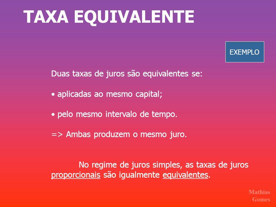 TAXA EQUIVALENTE Duas taxas de juros são equivalentes se: aplicadas ao mesmo capital; pelo mesmo intervalo de tempo. => Ambas produzem o mesmo juro. N