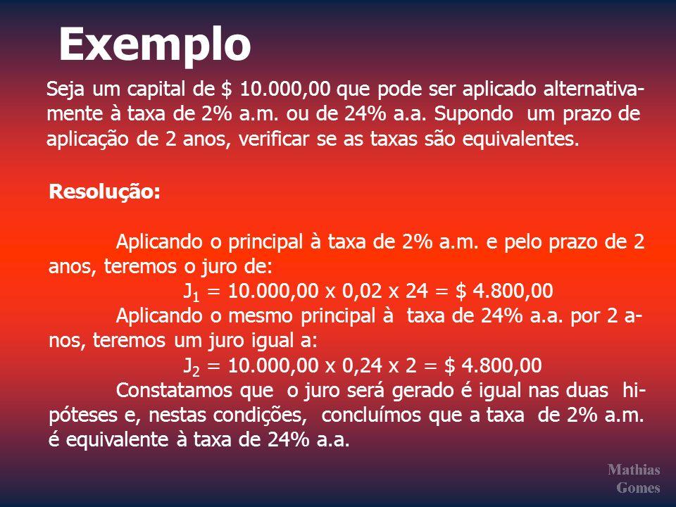 Exemplo Seja um capital de $ 10.000,00 que pode ser aplicado alternativa- mente à taxa de 2% a.m. ou de 24% a.a. Supondo um prazo de aplicação de 2 an