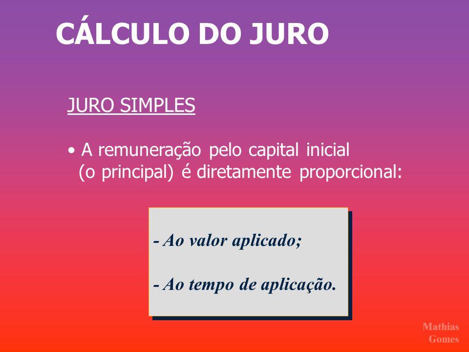 CÁLCULO DO JURO - Ao valor aplicado; - Ao tempo de aplicação. - Ao valor aplicado; - Ao tempo de aplicação. JURO SIMPLES A remuneração pelo capital in
