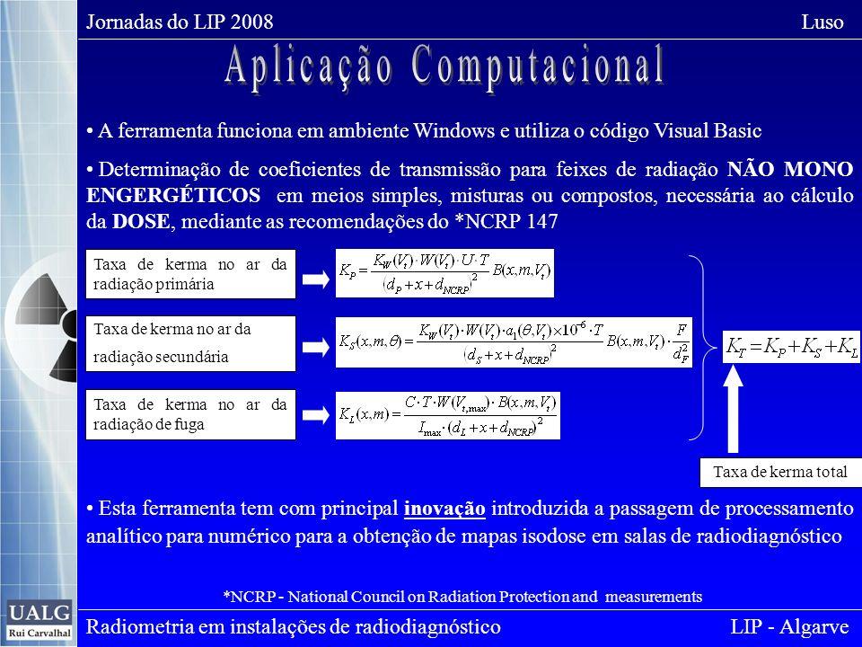 Jornadas do LIP 2008 Luso Radiometria em instalações de radiodiagnóstico LIP - Algarve A ferramenta funciona em ambiente Windows e utiliza o código Visual Basic Determinação de coeficientes de transmissão para feixes de radiação NÃO MONO ENGERGÉTICOS em meios simples, misturas ou compostos, necessária ao cálculo da DOSE, mediante as recomendações do *NCRP 147 *NCRP - National Council on Radiation Protection and measurements Esta ferramenta tem com principal inovação introduzida a passagem de processamento analítico para numérico para a obtenção de mapas isodose em salas de radiodiagnóstico Taxa de kerma no ar da radiação primária Taxa de kerma no ar da radiação secundária Taxa de kerma no ar da radiação de fuga Taxa de kerma total