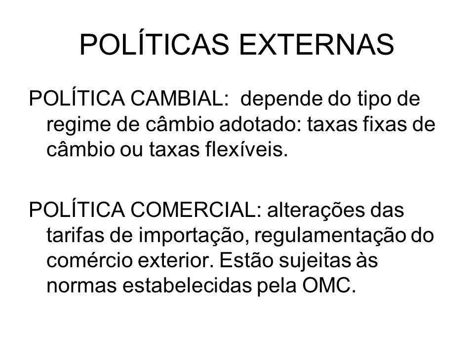 POLÍTICAS EXTERNAS POLÍTICA CAMBIAL: depende do tipo de regime de câmbio adotado: taxas fixas de câmbio ou taxas flexíveis. POLÍTICA COMERCIAL: altera