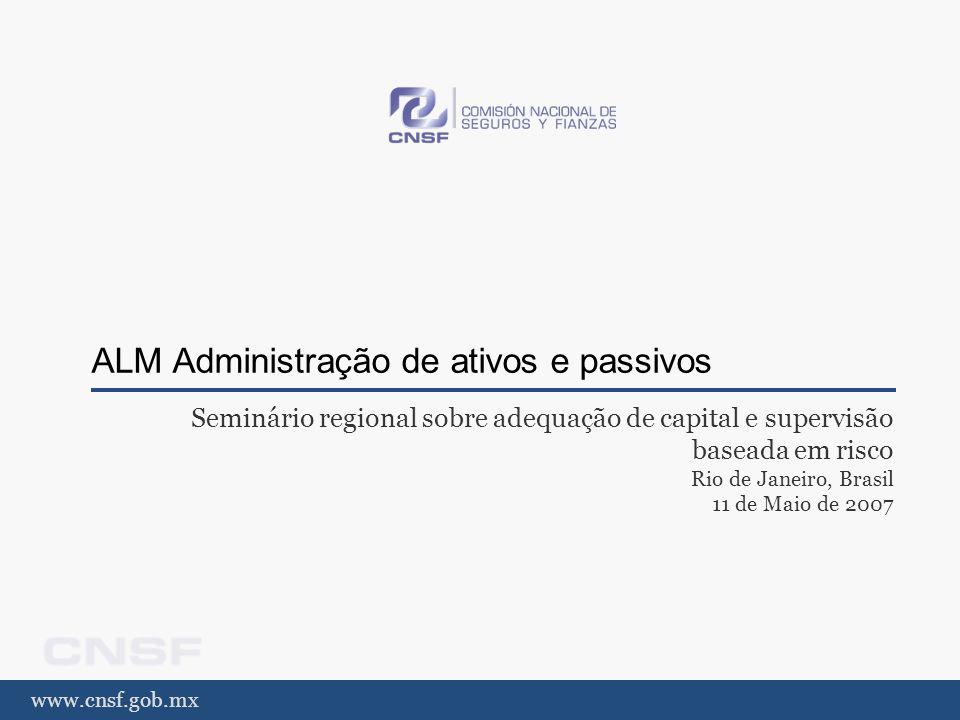 www.cnsf.gob.mx ALM Administração de ativos e passivos Seminário regional sobre adequação de capital e supervisão baseada em risco Rio de Janeiro, Bra