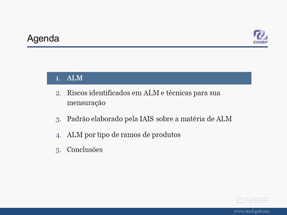 www.cnsf.gob.mx Agenda 1.ALM 2.Riscos identificados em ALM e técnicas para sua mensuração 3.Padrão elaborado pela IAIS sobre a matéria de ALM 4.ALM po