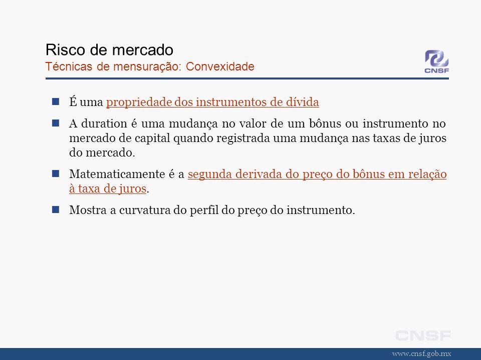 www.cnsf.gob.mx Risco de mercado Técnicas de mensuração: Convexidade É uma propriedade dos instrumentos de dívida A duration é uma mudança no valor de