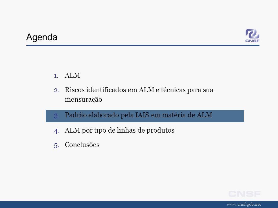www.cnsf.gob.mx Agenda 1.ALM 2.Riscos identificados em ALM e técnicas para sua mensuração 3.Padrão elaborado pela IAIS em matéria de ALM 4.ALM por tip
