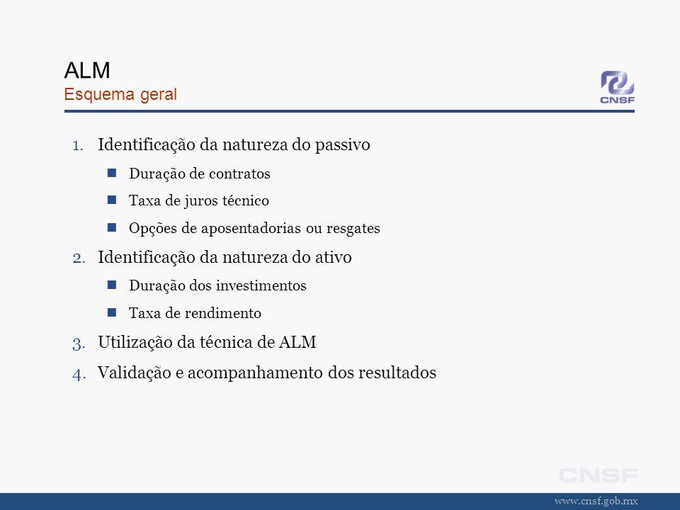 www.cnsf.gob.mx ALM Esquema geral 1.Identificação da natureza do passivo Duração de contratos Taxa de juros técnico Opções de aposentadorias ou resgat