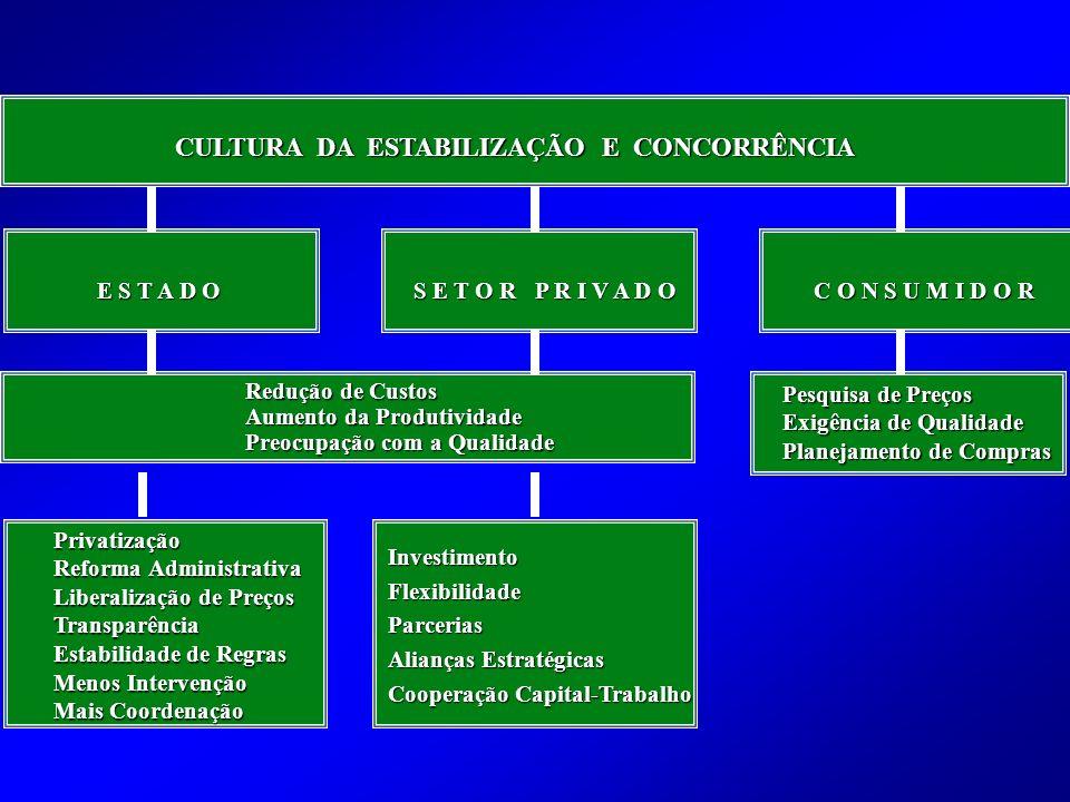 CULTURA DA ESTABILIZAÇÃO E CONCORRÊNCIA Redução de Custos Aumento da Produtividade Preocupação com a Qualidade Privatização Reforma Administrativa Liberalização de Preços Transparência Estabilidade de Regras Menos Intervenção Mais Coordenação InvestimentoFlexibilidadeParcerias Alianças Estratégicas Cooperação Capital-Trabalho Pesquisa de Preços Exigência de Qualidade Planejamento de Compras E S T A D O S E T O R P R I V A D O C O N S U M I D O R