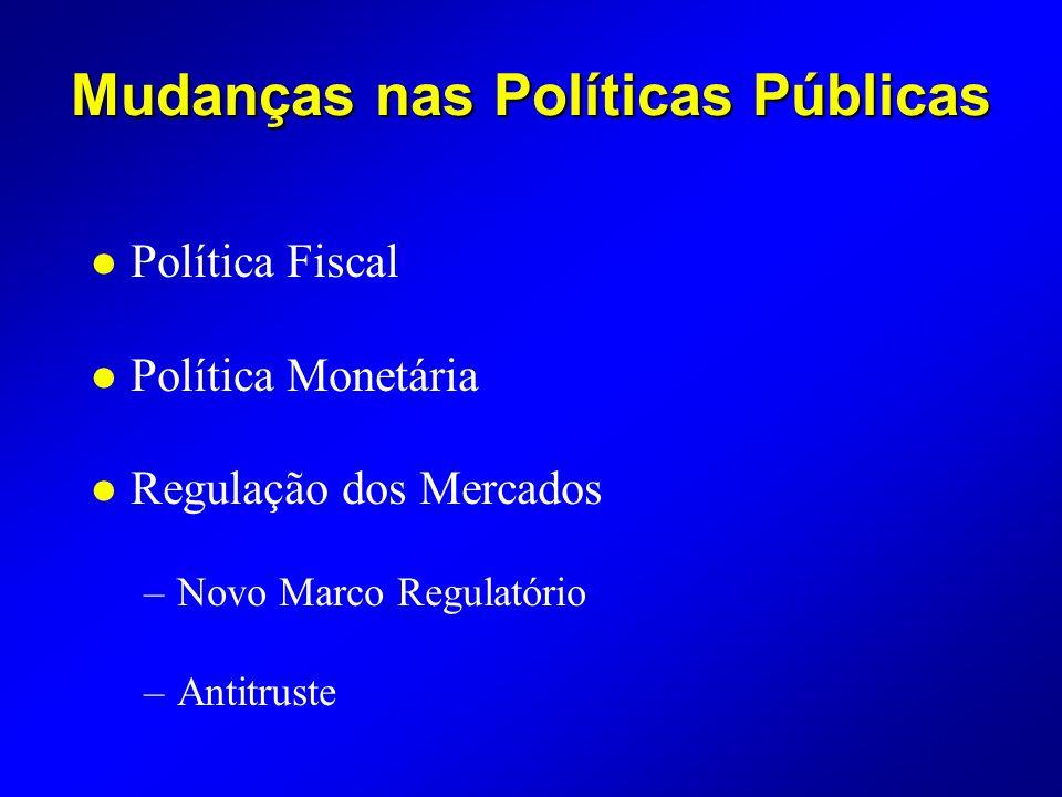 Mudanças nas Políticas Públicas l Política Fiscal l Política Monetária l Regulação dos Mercados –Novo Marco Regulatório –Antitruste