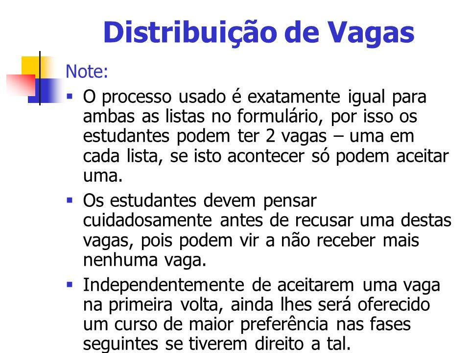 Distribuição de Vagas Note: O processo usado é exatamente igual para ambas as listas no formulário, por isso os estudantes podem ter 2 vagas – uma em cada lista, se isto acontecer só podem aceitar uma.
