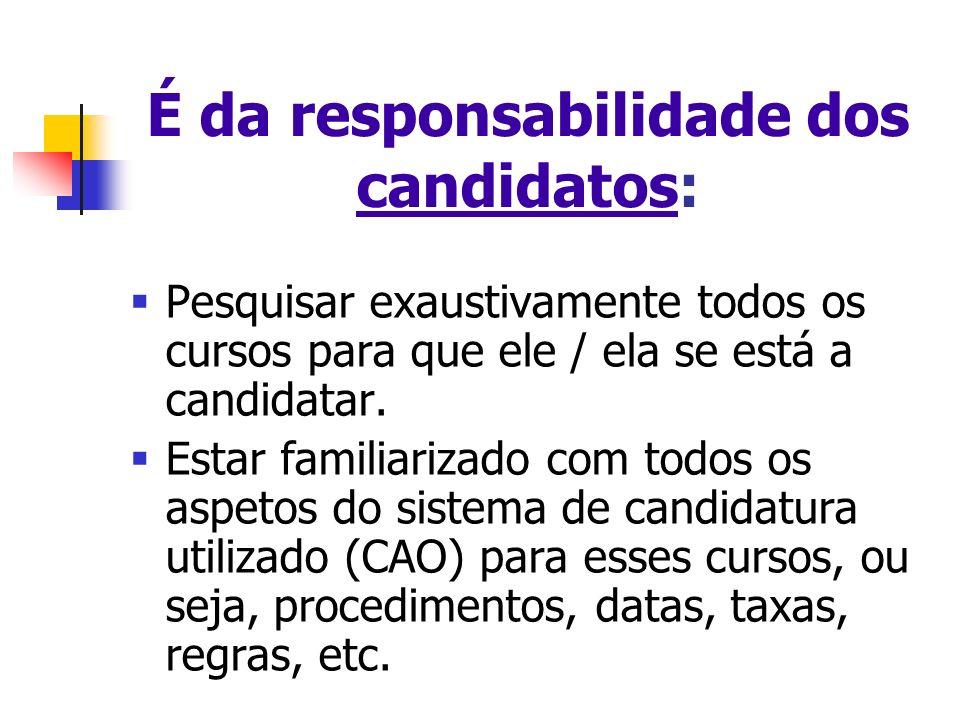 É da responsabilidade dos candidatos: Pesquisar exaustivamente todos os cursos para que ele / ela se está a candidatar.