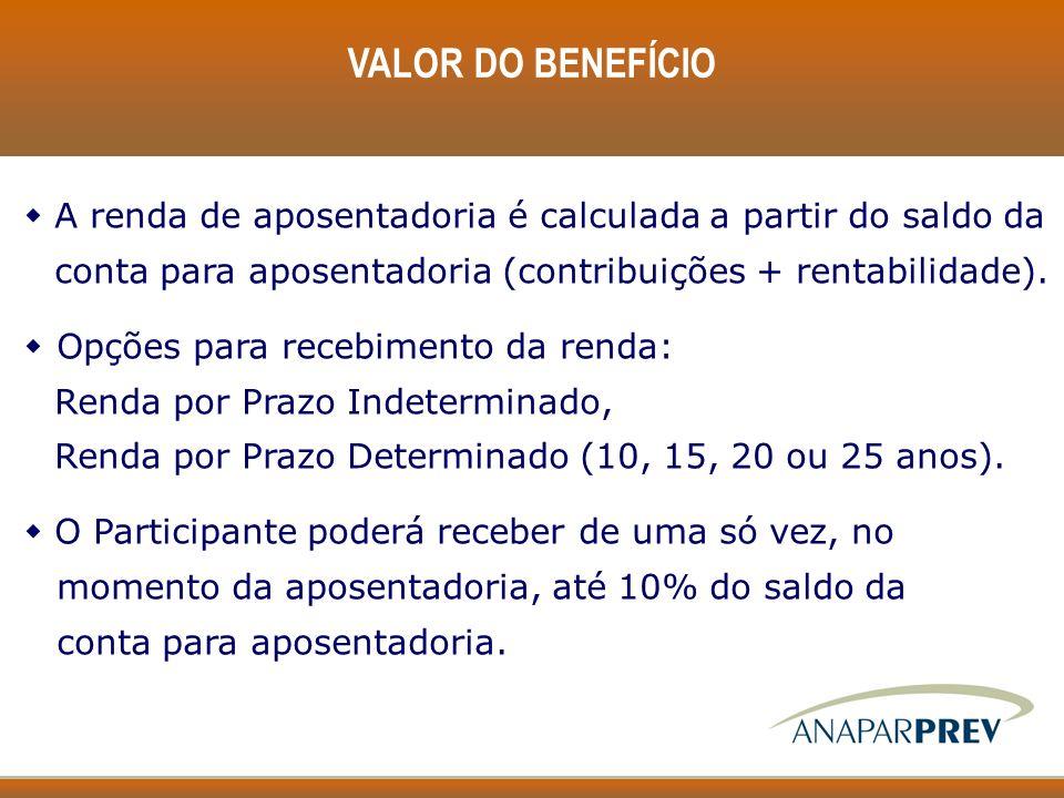 VALOR DO BENEFÍCIO w A renda de aposentadoria é calculada a partir do saldo da conta para aposentadoria (contribuições + rentabilidade). w Opções para