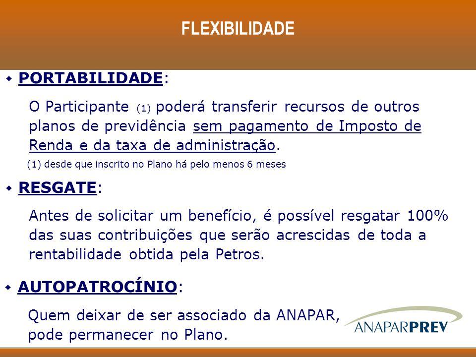 FLEXIBILIDADE w PORTABILIDADE: O Participante (1) poderá transferir recursos de outros planos de previdência sem pagamento de Imposto de Renda e da ta