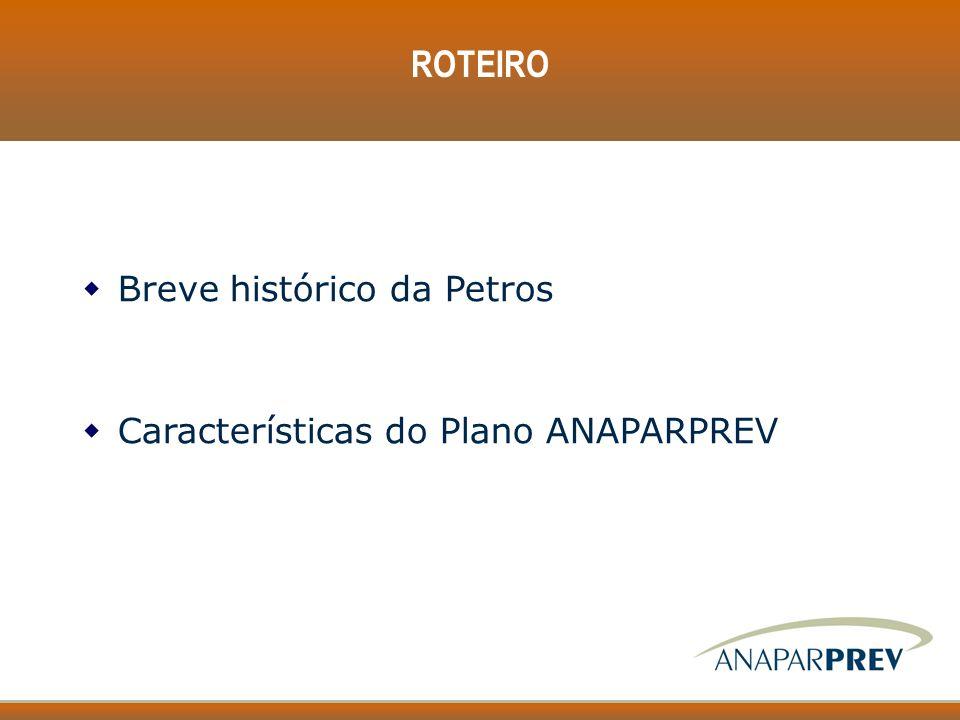 ROTEIRO Breve histórico da Petros Características do Plano ANAPARPREV