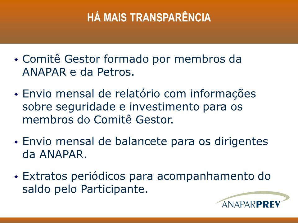 w Comitê Gestor formado por membros da ANAPAR e da Petros. w Envio mensal de relatório com informações sobre seguridade e investimento para os membros