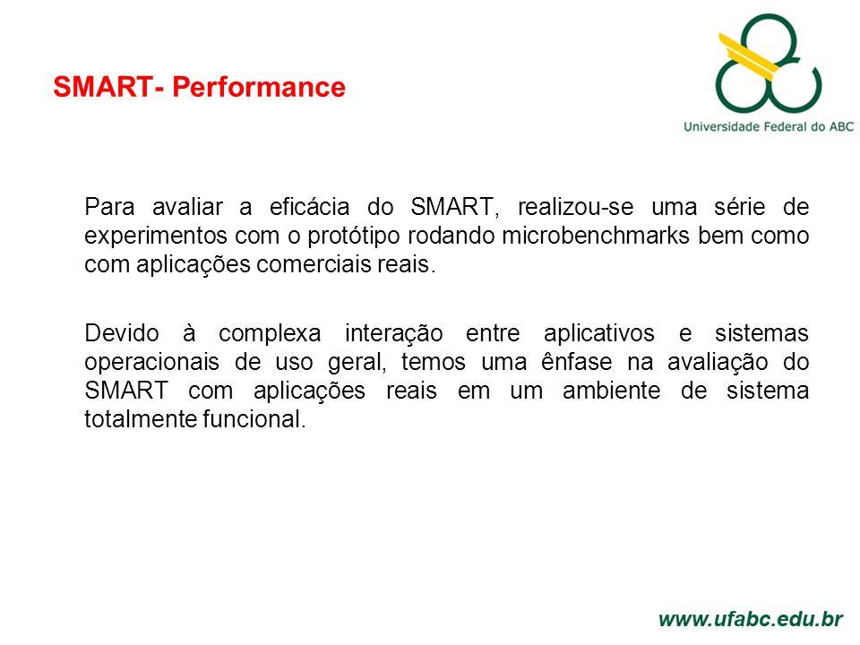 SMART- Performance Para avaliar a eficácia do SMART, realizou-se uma série de experimentos com o protótipo rodando microbenchmarks bem como com aplicações comerciais reais.