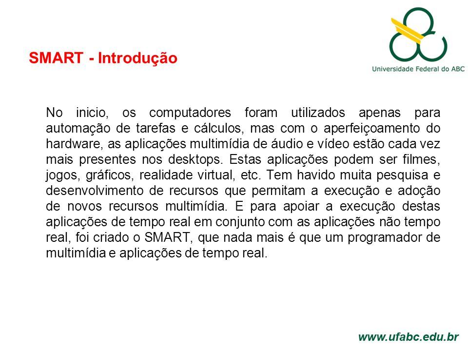 SMART - Introdução No inicio, os computadores foram utilizados apenas para automação de tarefas e cálculos, mas com o aperfeiçoamento do hardware, as aplicações multimídia de áudio e vídeo estão cada vez mais presentes nos desktops.