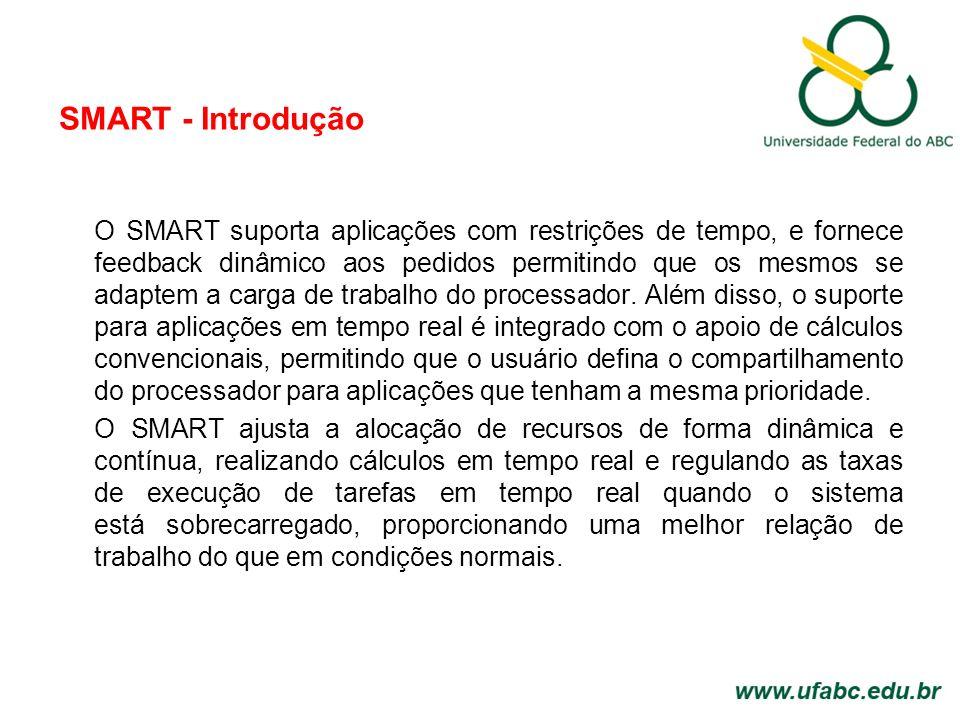 SMART - Introdução O SMART suporta aplicações com restrições de tempo, e fornece feedback dinâmico aos pedidos permitindo que os mesmos se adaptem a carga de trabalho do processador.