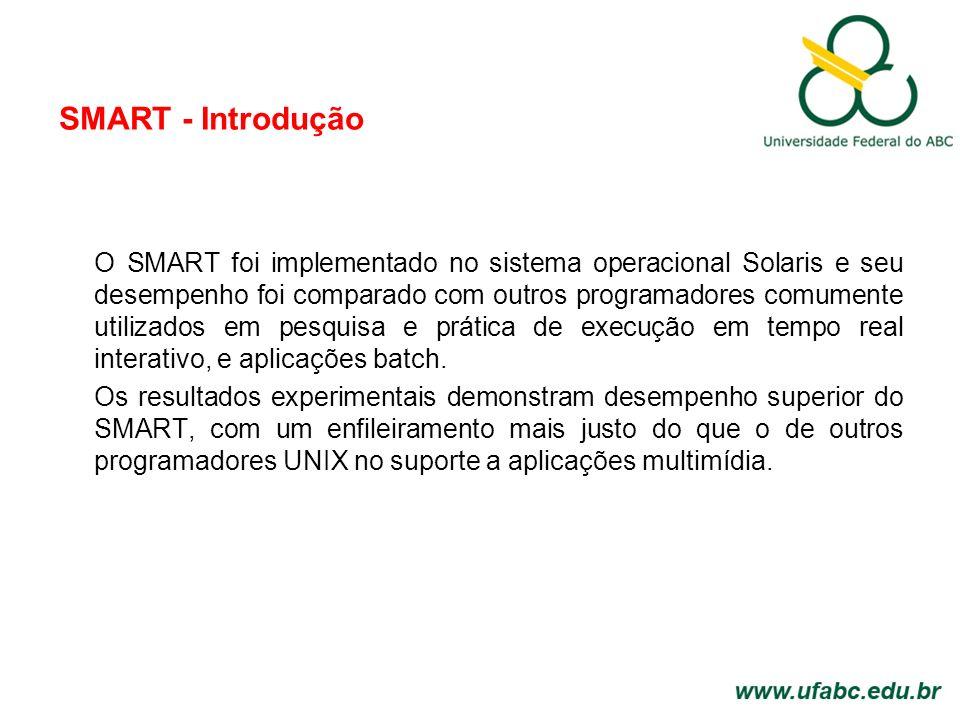 SMART - Introdução O SMART foi implementado no sistema operacional Solaris e seu desempenho foi comparado com outros programadores comumente utilizados em pesquisa e prática de execução em tempo real interativo, e aplicações batch.