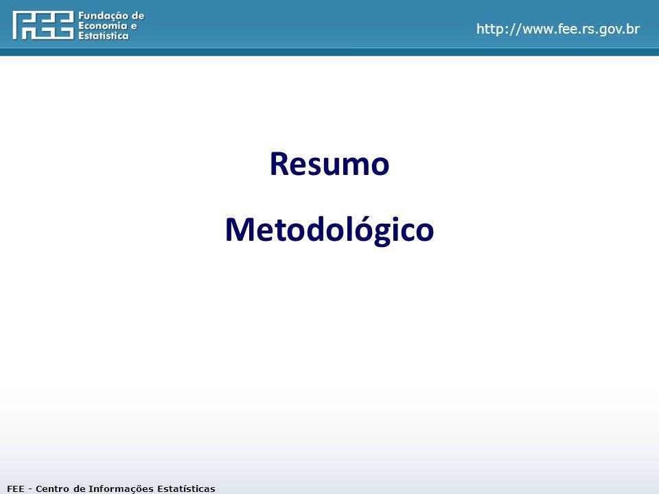 http://www.fee.rs.gov.br Resumo Metodológico FEE - Centro de Informações Estatísticas