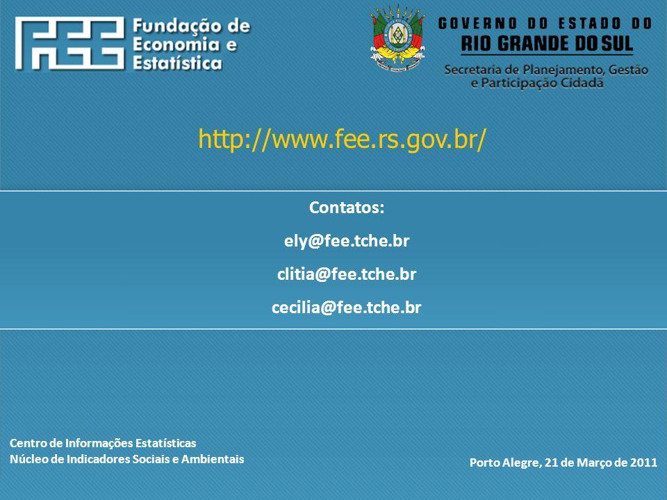 Centro de Informações Estatísticas Núcleo de Indicadores Sociais e Ambientais Porto Alegre, 21 de Março de 2011 http://www.fee.rs.gov.br/ Contatos: ely@fee.tche.br clitia@fee.tche.br cecilia@fee.tche.br