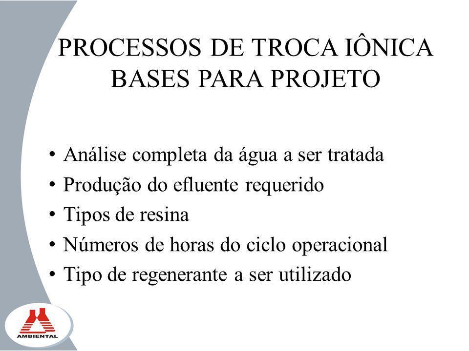 PROCESSOS DE TROCA IÔNICA BASES PARA PROJETO Análise completa da água a ser tratada Produção do efluente requerido Tipos de resina Números de horas do