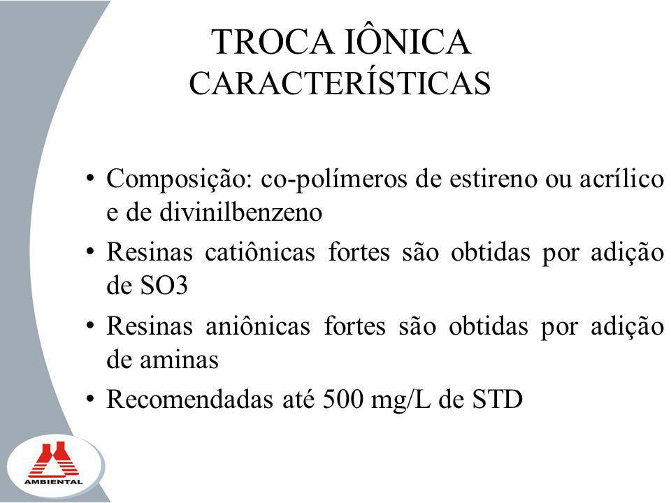 TROCA IÔNICA CARACTERÍSTICAS Composição: co-polímeros de estireno ou acrílico e de divinilbenzeno Resinas catiônicas fortes são obtidas por adição de