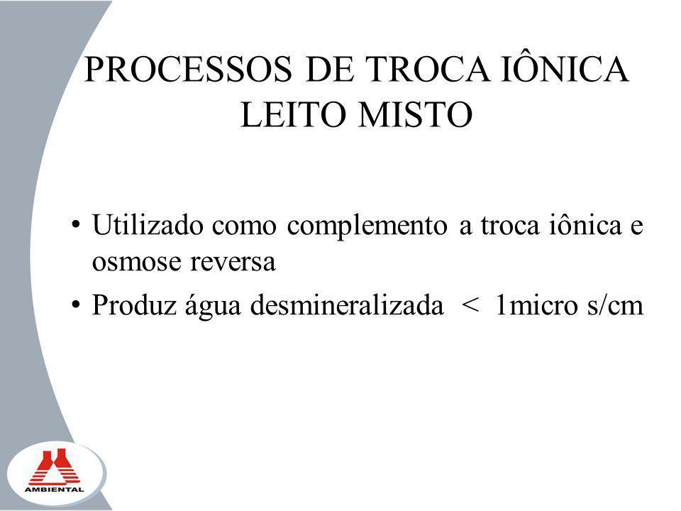 PROCESSOS DE TROCA IÔNICA LEITO MISTO Utilizado como complemento a troca iônica e osmose reversa Produz água desmineralizada < 1micro s/cm