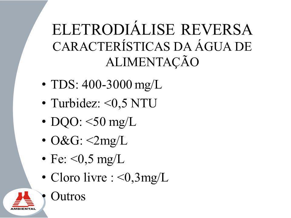 ELETRODIÁLISE REVERSA CARACTERÍSTICAS DA ÁGUA DE ALIMENTAÇÃO TDS: 400-3000 mg/L Turbidez: <0,5 NTU DQO: <50 mg/L O&G: <2mg/L Fe: <0,5 mg/L Cloro livre