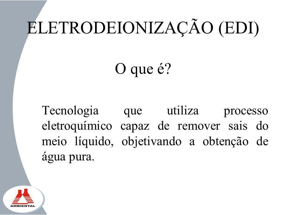 ELETRODEIONIZAÇÃO (EDI) O que é? Tecnologia que utiliza processo eletroquímico capaz de remover sais do meio líquido, objetivando a obtenção de água p