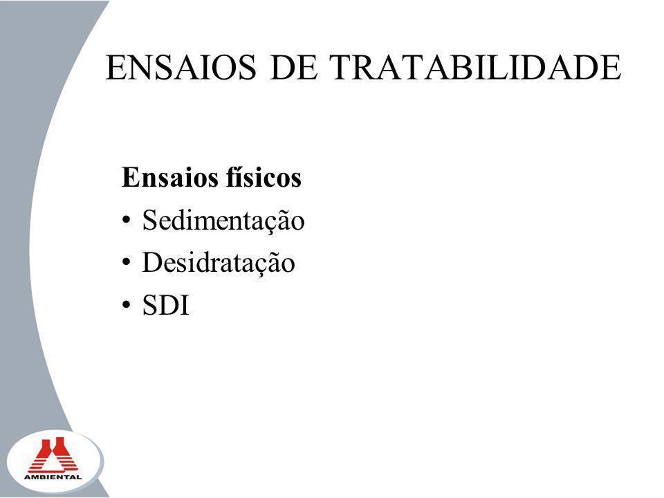 ENSAIOS DE TRATABILIDADE Ensaios físicos Sedimentação Desidratação SDI