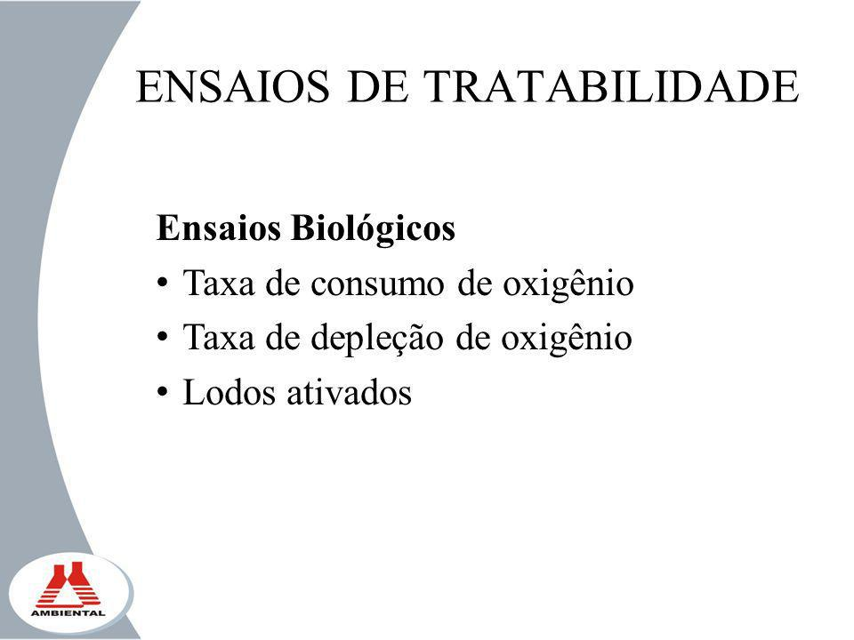 ENSAIOS DE TRATABILIDADE Ensaios Biológicos Taxa de consumo de oxigênio Taxa de depleção de oxigênio Lodos ativados