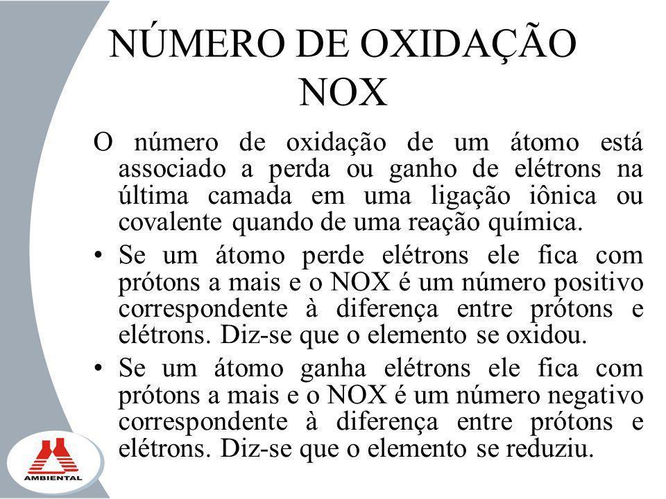 NÚMERO DE OXIDAÇÃO NOX O número de oxidação de um átomo está associado a perda ou ganho de elétrons na última camada em uma ligação iônica ou covalent
