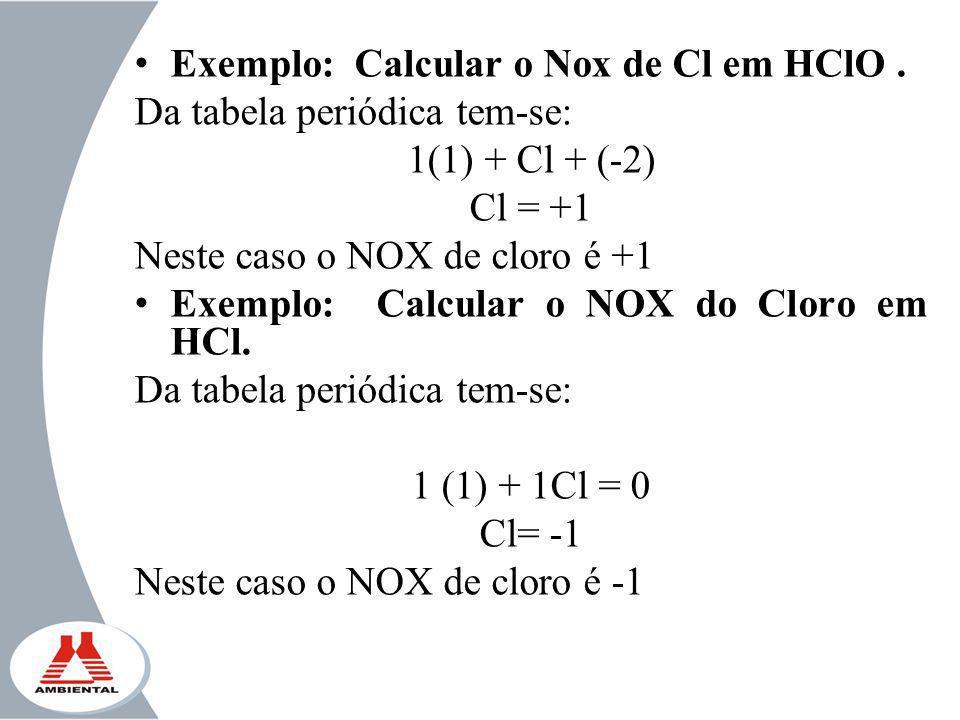 Exemplo: Calcular o Nox de Cl em HClO. Da tabela periódica tem-se: 1(1) + Cl + (-2) Cl = +1 Neste caso o NOX de cloro é +1 Exemplo: Calcular o NOX do