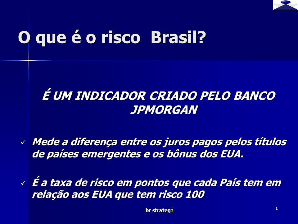 br strateg i 1 O que é o risco Brasil? É UM INDICADOR CRIADO PELO BANCO JPMORGAN Mede a diferença entre os juros pagos pelos títulos de países emergen