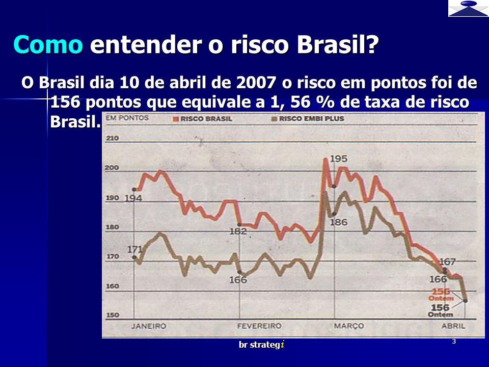 br strateg i 3 Como entender o risco Brasil? O Brasil dia 10 de abril de 2007 o risco em pontos foi de 156 pontos que equivale a 1, 56 % de taxa de ri