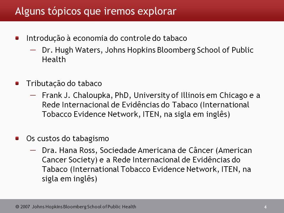 2007 Johns Hopkins Bloomberg School of Public Health 4 Alguns tópicos que iremos explorar Introdução à economia do controle do tabaco Dr.