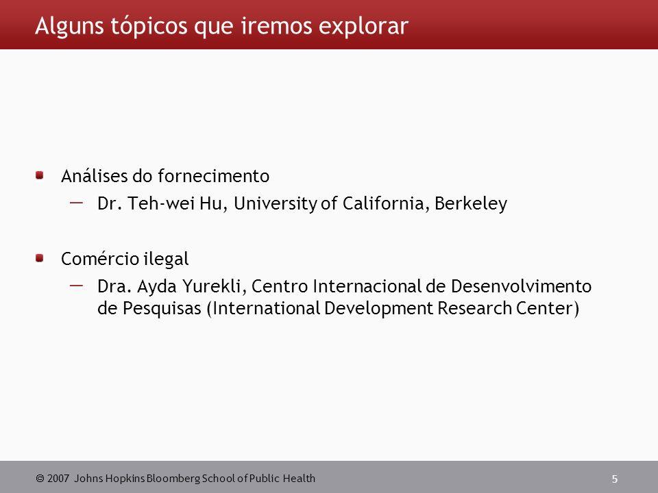 2007 Johns Hopkins Bloomberg School of Public Health 5 Alguns tópicos que iremos explorar Análises do fornecimento Dr.