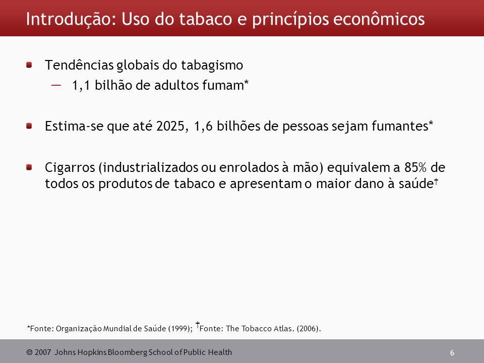 2007 Johns Hopkins Bloomberg School of Public Health 6 Introdução: Uso do tabaco e princípios econômicos Tendências globais do tabagismo 1,1 bilhão de adultos fumam* Estima-se que até 2025, 1,6 bilhões de pessoas sejam fumantes* Cigarros (industrializados ou enrolados à mão) equivalem a 85% de todos os produtos de tabaco e apresentam o maior dano à saúde *Fonte: Organização Mundial de Saúde (1999); Fonte: The Tobacco Atlas.