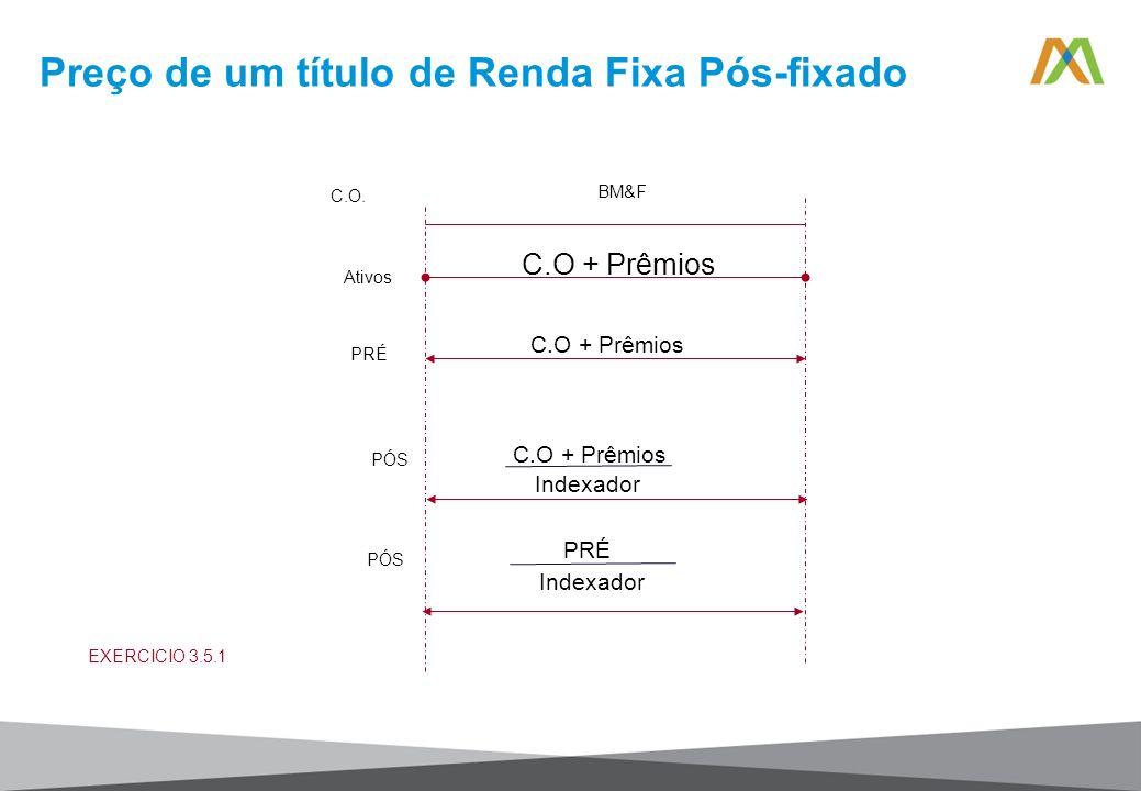 Preço de um título de Renda Fixa Pós-fixado BM&F C.O. Ativos C.O + Prêmios PRÉ PÓS C.O + Prêmios Indexador PRÉ Indexador PÓS C.O + Prêmios EXERCICIO 3