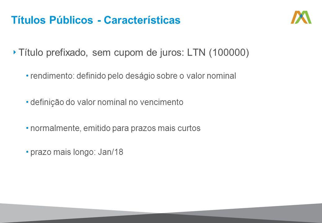 Títulos Públicos - Características Título prefixado, sem cupom de juros: LTN (100000) rendimento: definido pelo deságio sobre o valor nominal definiçã