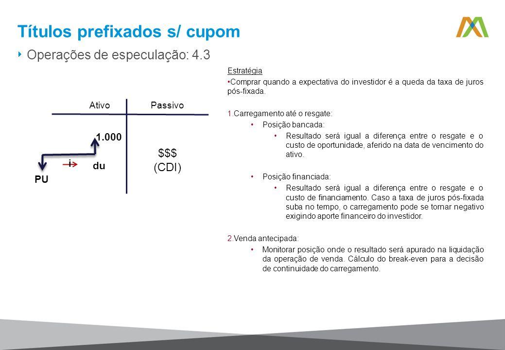 Operações de especulação: 4.3 Títulos prefixados s/ cupom Estratégia Comprar quando a expectativa do investidor é a queda da taxa de juros pós-fixada.
