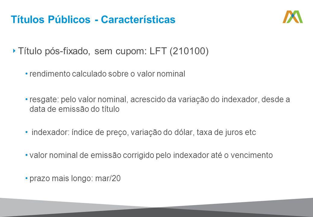 Títulos Públicos - Características Título pós-fixado, sem cupom: LFT (210100) rendimento calculado sobre o valor nominal resgate: pelo valor nominal,