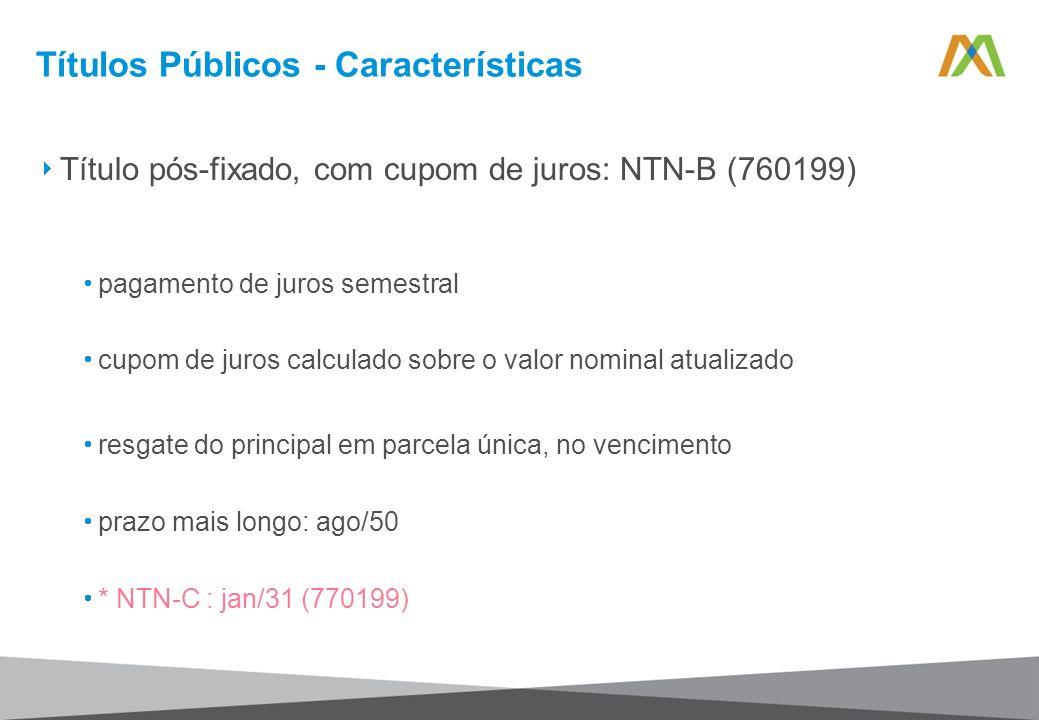 Títulos Públicos - Características Título pós-fixado, com cupom de juros: NTN-B (760199) pagamento de juros semestral cupom de juros calculado sobre o