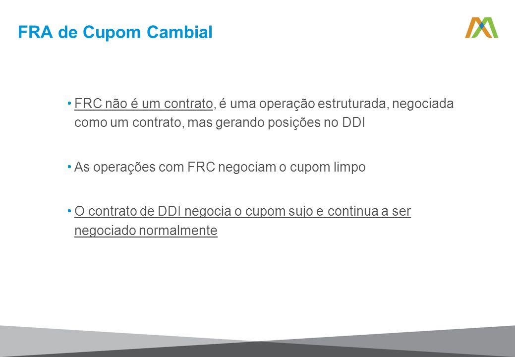 FRC não é um contrato, é uma operação estruturada, negociada como um contrato, mas gerando posições no DDI As operações com FRC negociam o cupom limpo