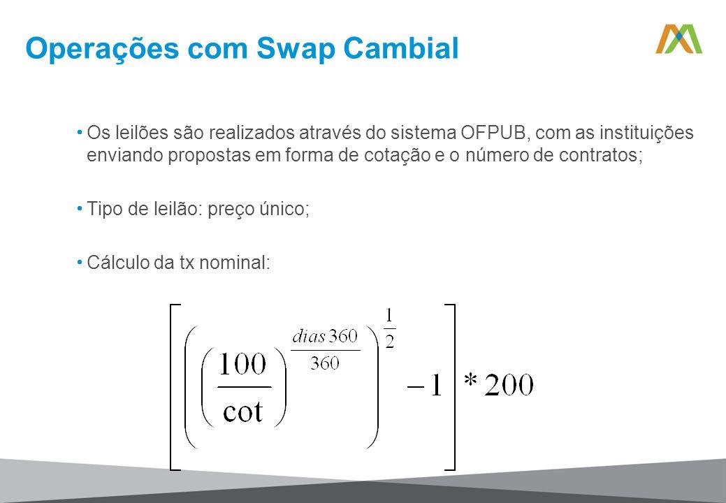 Operações com Swap Cambial Os leilões são realizados através do sistema OFPUB, com as instituições enviando propostas em forma de cotação e o número d